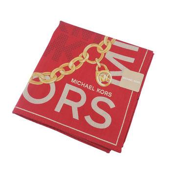 MICHAEL KORS字母邊鎖鏈帕巾(深紅)