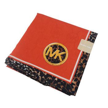 MICHAEL KORS豹紋飾邊帕巾(橘紅)