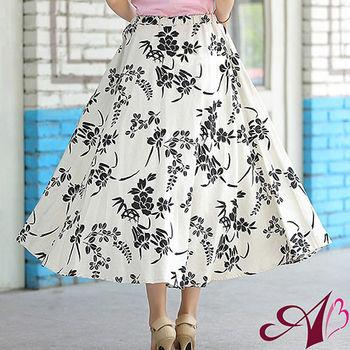 【A3】熱銷單品-印花亞麻圓長裙