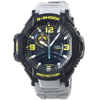 CASIO 卡西歐G-SHOCK 雙顯重機鬧鈴電子錶-黑灰 / GA-1000-8A
