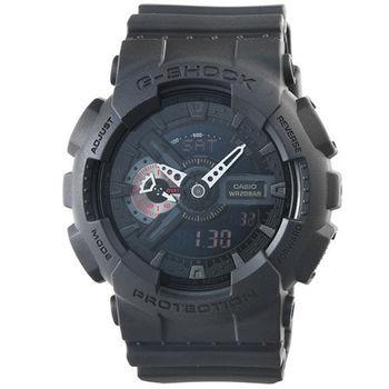 CASIO 卡西歐G-SHOCK 抗磁雙顯重機鬧鈴電子錶-黑 / GA-110MB-1A