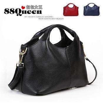 【88Queen❤包包女王】真皮★時尚編織提把波士頓包-多色可選