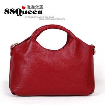 【88Queen❤包包女王】真皮★時尚編織提把波士頓包-紅色