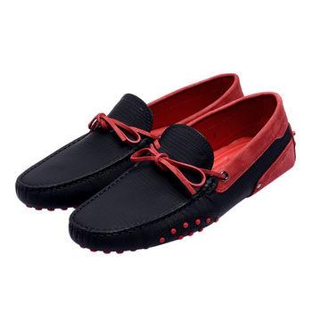 TOD'S 聯名FERRARI GOMMINO MOCASSINO系列麂皮綁帶撞色手工豆豆鞋(紅X黑)