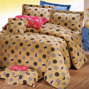 艾莉絲-貝倫 溫情之家(5.0x6.2呎)四件式雙人(高級混紡棉)鋪棉兩用被床包組(黃色)