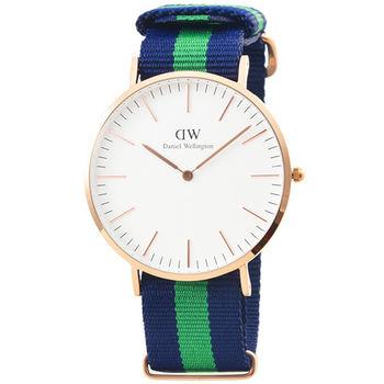 DW Daniel Wellington 瑞典簡約時尚腕錶-綠藍帆布帶金框40mm / 0105DW