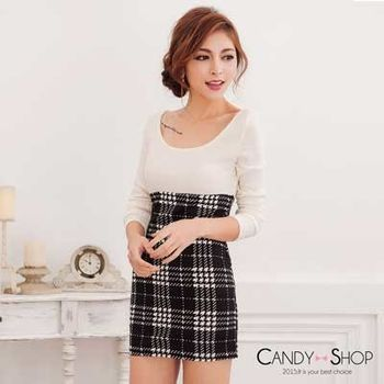 Candy小舖 圓領素面長袖坑條針織拼接格紋貼身短洋裝(預購+現貨) 2色選