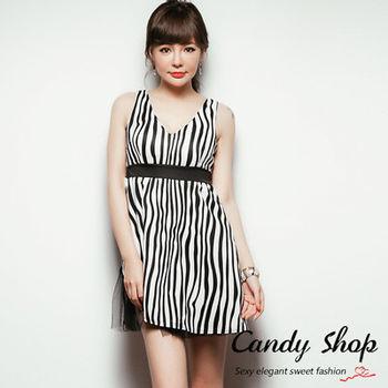 Candy小舖 性感大V領無袖直條紋網紗裙擺短洋裝(預購+現貨) 2色選