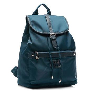 [ANGIMI SHOP] 完美時尚尼龍束口防水後背包(綠藍色)