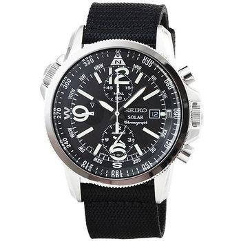 SEIKO精工光動能大錶徑雙時區三眼計時鬧鈴帆布錶 / SSC135P1