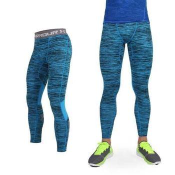 【UNDER ARMOUR】UA COM HG COOLSWITCH男緊身長褲 條紋藍黑  透氣網布