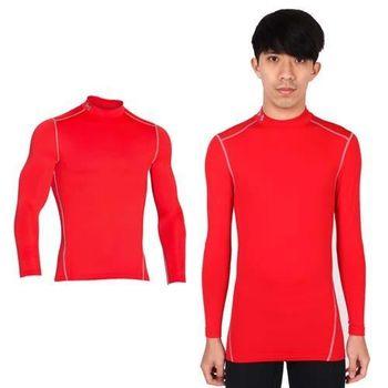 【UNDER ARMOUR】UA CG ARMOUR男半高領長袖T恤 紅灰 四向伸縮