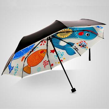 PUSH 好聚好傘 輕韌玻纖抗風活性印染UPF50雨傘戶外傘遮陽傘晴雨傘I32