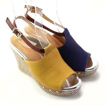 【BIS-VITAL】素面金屬釘扣義大利山羊皮編織楔型繫踝涼鞋-黃色、深藍色
