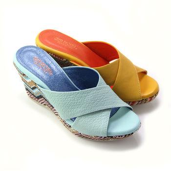 【BIS-VITAL】寬版交叉幾何圖形義大利山羊皮楔型拖鞋-黃色、水藍色