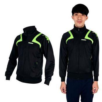 【KAPPA】男針織外套-立領 休閒外套 黑綠白  吸濕排汗