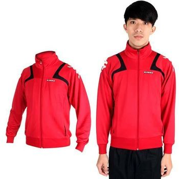 【KAPPA】男針織外套-立領 休閒外套 紅黑白  吸濕排汗