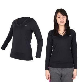 【UNDER ARMOUR】UA HG ARMOUR女長袖T恤 黑銀  修身版