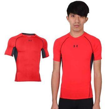 【UNDER ARMOUR】UA HG ARMOUR男短袖T恤 紅黑  腋下網布