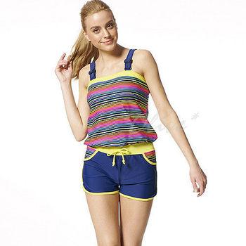(現貨+預購)【沙兒斯】時尚亮麗彩色條紋兩件式連身平口泳裝NO.B92519