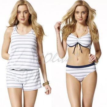 (現貨+預購)【沙兒斯】時尚素雅條紋三件式鋼圈比基尼泳裝NO.B93507