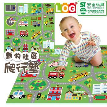 LOG樂格 環保遊戲爬行墊- 2CM動物社區雙面街道款(120x180cm)