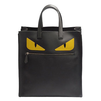 FENDI 經典BAG BUGS怪獸造型撞色直立手提包(黑X黃)