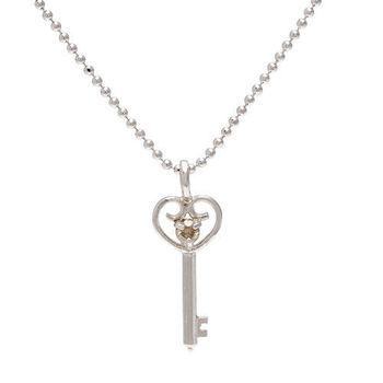 JL鑽鑲嵌心型鑰匙項鍊