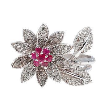 JL花型晶鑽紅寶戒指(紅#6)