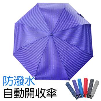 條紋防潑水自動開收折疊傘-買一送一共2入