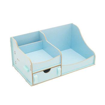 創意多用途DIY木質雙層收納箱/化妝盒/收納盒 )