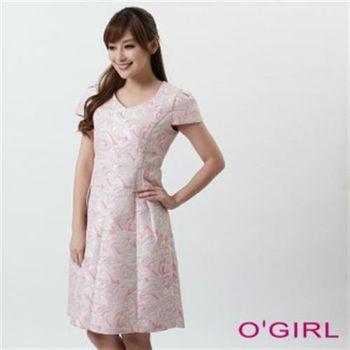 【OGIRL】名媛嫩色緹花洋裝