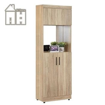 【AT HOME】高爾2x6尺橡木紋中空鏡面高鞋櫃