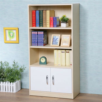 Homelike  清新森林雙門三格書櫃-楓木+白色