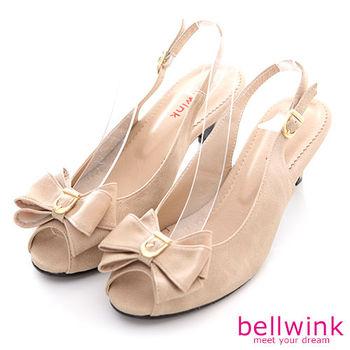 【bellwink】B8911PK日系疊層大朵結露趾扣環低跟鞋-駝色