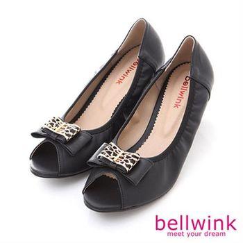 【bellwink】B8909BK日系方形金屬朵結圓頭低跟鞋-黑色