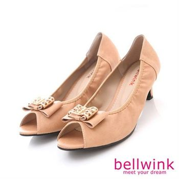 【bellwink】B8909CL日系方形金屬朵結圓頭低跟鞋-駝色