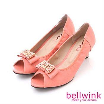 【bellwink】B8909PK日系方形金屬朵結圓頭低跟鞋-粉色