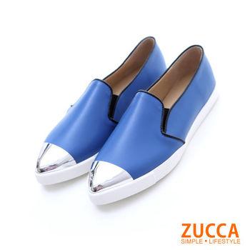 【ZUCCA】Z5738BE日系金屬感拼接尖頭平底鞋-藍色
