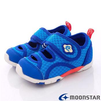日本Carrot機能童鞋-新夏網布透氣機能款-CB785藍-(12.5cm~14.5cm)