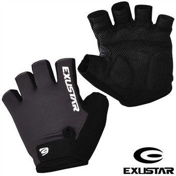 EXUSTAR 自行車半指手套(黑)