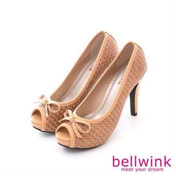 【bellwink】B8921CL日系編織紋朵結露趾高跟鞋-駝色