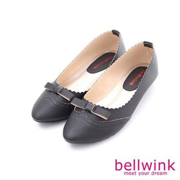 【bellwink】B8917BK編織朵結紋拼接尖頭包鞋-黑色