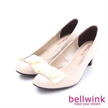 【bellwink】B8916WE淑女金屬環扣緞帶朵結低跟鞋-白色