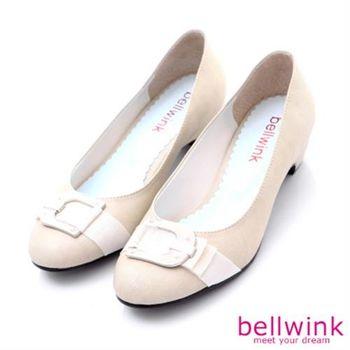 【bellwink】B8904WE日系典雅金屬扣環低跟高跟鞋-白色