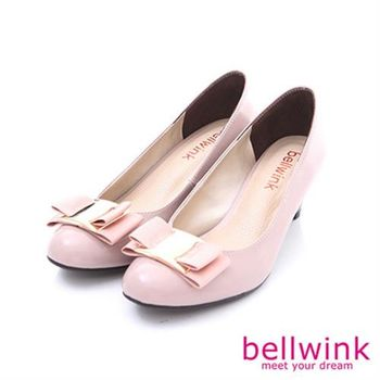 【bellwink】B8916PK淑女金屬環扣緞帶朵結低跟鞋-粉色