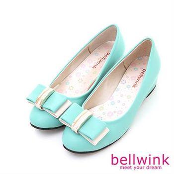 【bellwink】B8914GN雙色系朵結皮革厚低跟鞋-綠色