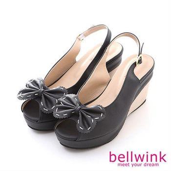 【bellwink】B8912BK雙層大朵結露趾踝扣厚底鞋-黑色