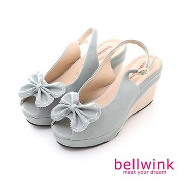 【bellwink】B8912GN雙層大朵結露趾踝扣厚底鞋-綠色