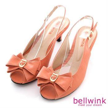 【bellwink】B8911OE日系疊層大朵結露趾扣環低跟鞋-橘色